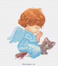Набор для вышивания Ангелок с котенком 20*20 см